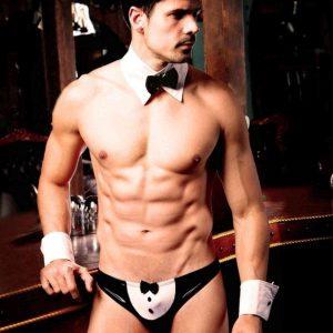 Ανδρικό Playboy Suit Ανδρικό εσώρουχο με αξεσουάρ για Playboy εμφάνιση. Ένα σέξι και διαφορετικό εσώρουχο ιδανικό για να δώσει μια άλλη νότα στις νύχτες σας.